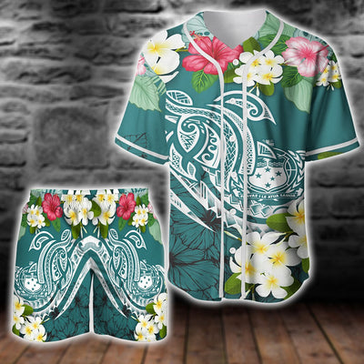 Samoa Island polynesian tropical flower turtle lover combo Baseball Shirt and Short all over print - luxamz