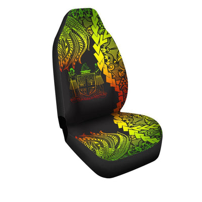 Fiji Polynesian Custom Personalised Tribal Wave Tattoo Reggae Car Seat Cover