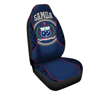 Samoa Sport Polynesian Coat Of Arms Gel Style Blue Car Seat Cover