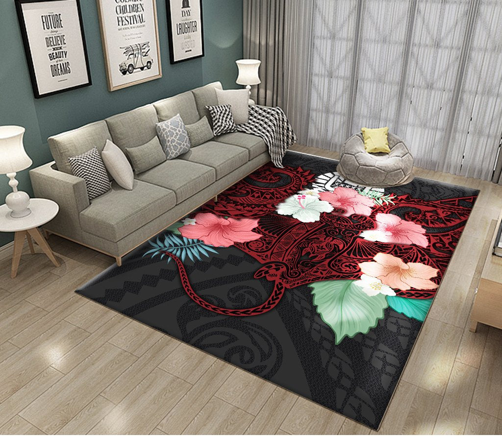HIBISCUS AND SEA RAY RUG - luxamz