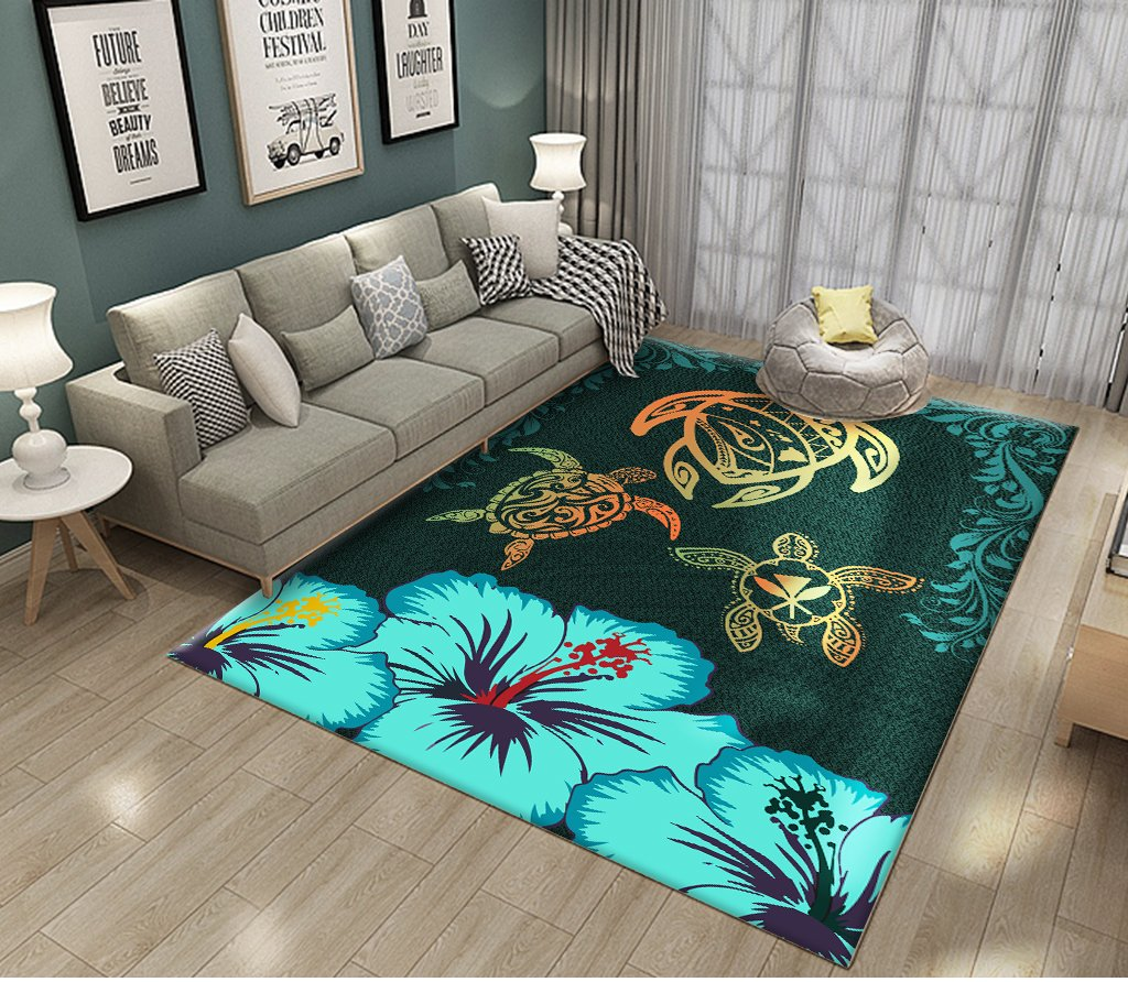 Hawaii Map Turtle Hibiscus Polynesian Luxury Sarong Honu Ohana RUG