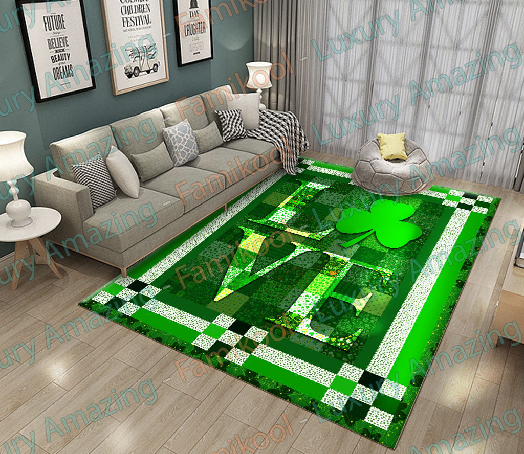 Love with shamrock ST. patrick's day Rug