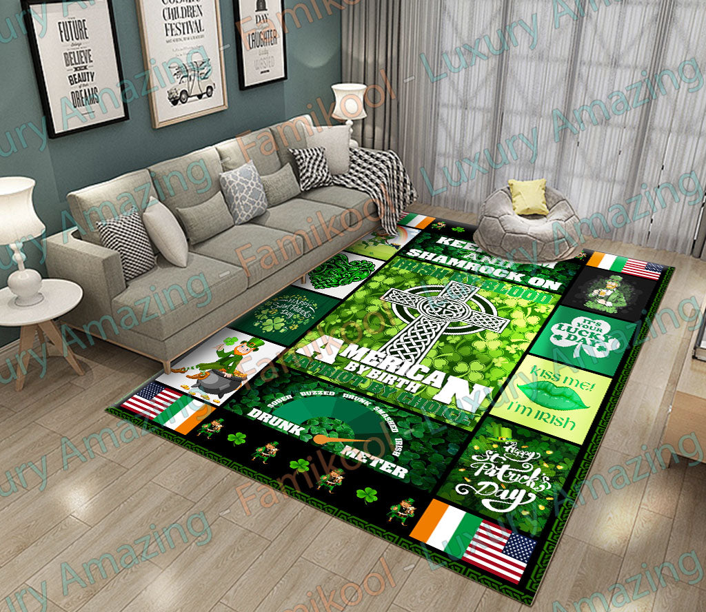 KEEP CALM AND SHAMROCK ON IRISH BY BLOOD RUG