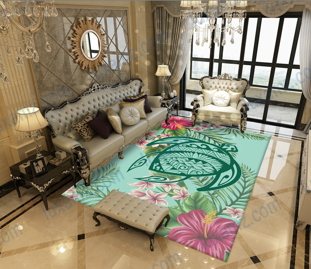 Hawaii Turtle Hibiscus Plumeria Polynesian Patterns RUG