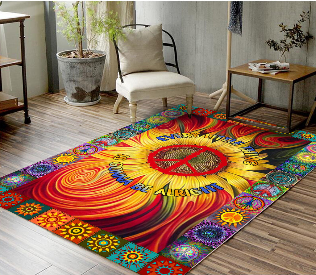 Hippie Every Little Thing Is Gonna Be Alright Sunflower RUG - luxamz