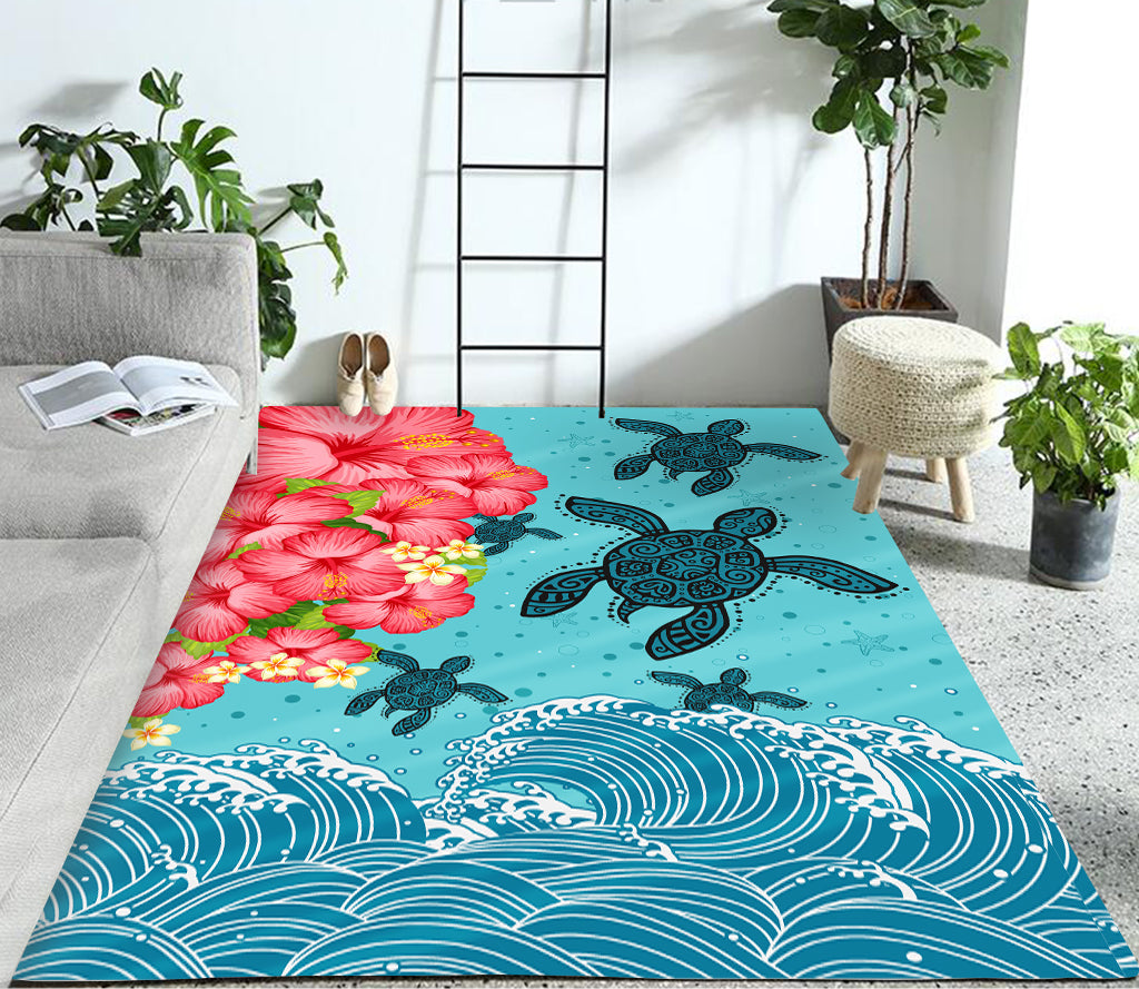 Hawaii Turtle Hibiscus Light Blue RUG