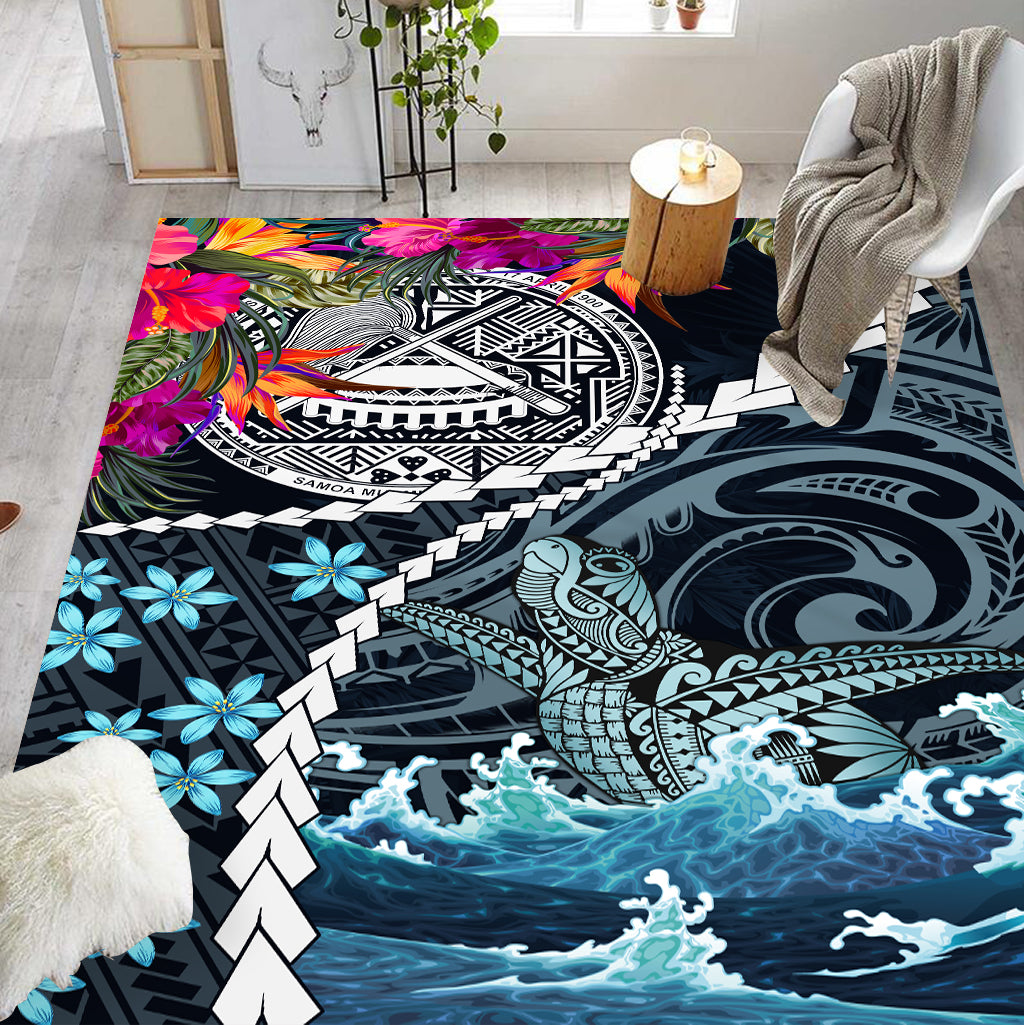 American Samoa with tropical flower and turtle ocean RUG - luxamz