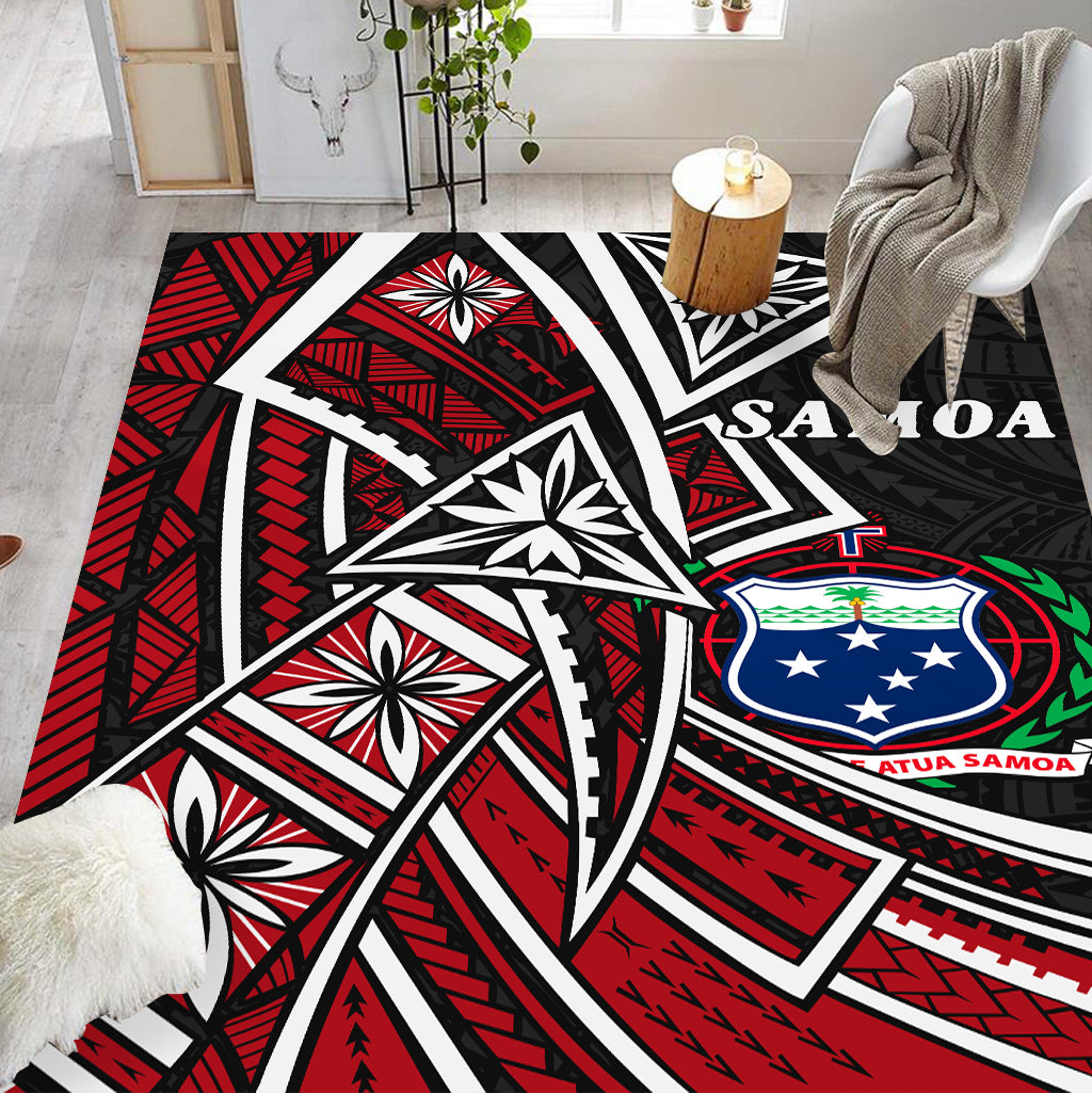 SAMOA TRIBAL FLOWER SPECIAL PATTERN RED COLOR RUG - luxamz