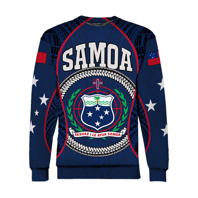 Samoa Sport Polynesian Coat Of Arms Gel Style Blue All Over Print
