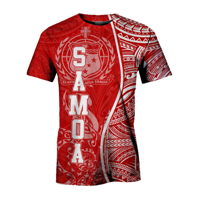 Samoa Polynesian Coconut Tree Red And White all over print
