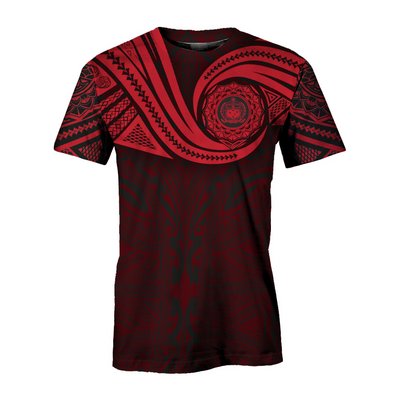 Samoa Polynesian Gold Heart Shield Red all over print