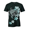 Hibiscus Plumeria Mix Polynesian Turquoise Turtle all over print