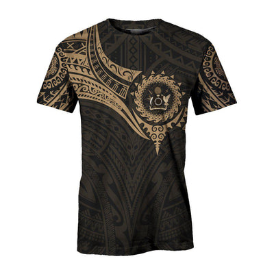 Cook Islands Polynesian Gold Heart Shield  all over print
