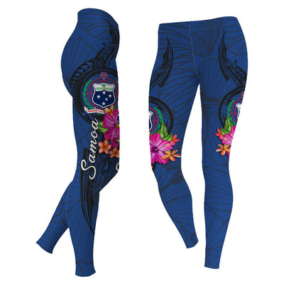 Samoa Polynesian Floral With Seal Blue legging 3d all over print - luxamz