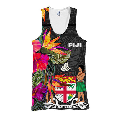 Fiji Polynesian Hibiscus Pattern all over print