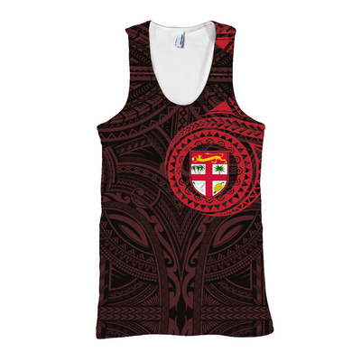 FIJI POLYNESIAN PATTERN RED all over print