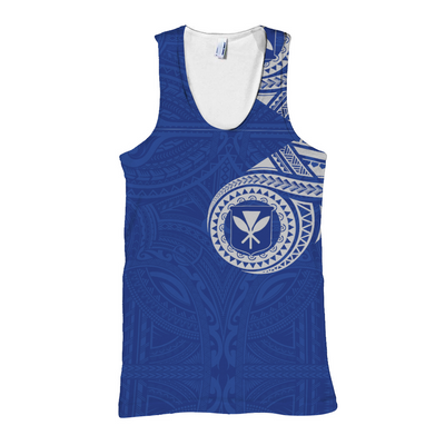 HAWAII FLAG POLYNESIAN TATTOO BLUE all over print