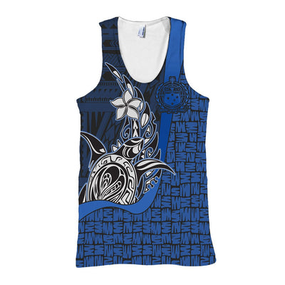 Samoa Polynesian Turtle with Hook Blue all over print - luxamz