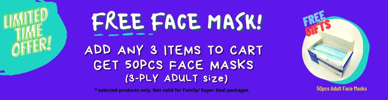 Free Face Mask! Add Any 3 Items and get Free Adult Face Masks