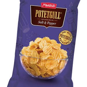 Maarud potatochips salt & pepper chips 275 gram (Potetgull)