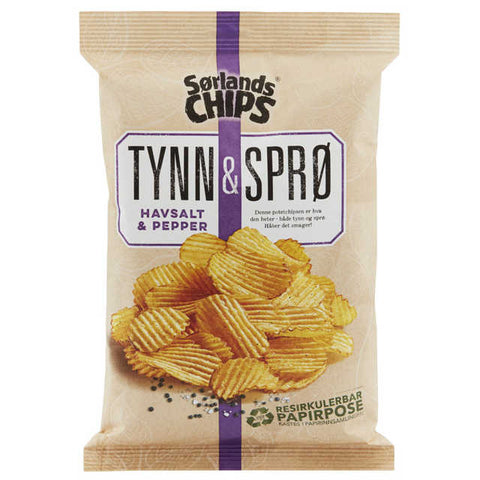 Sørlandschips Thin and crispy Salt&Pepper (tynn og sprø) 150 gr