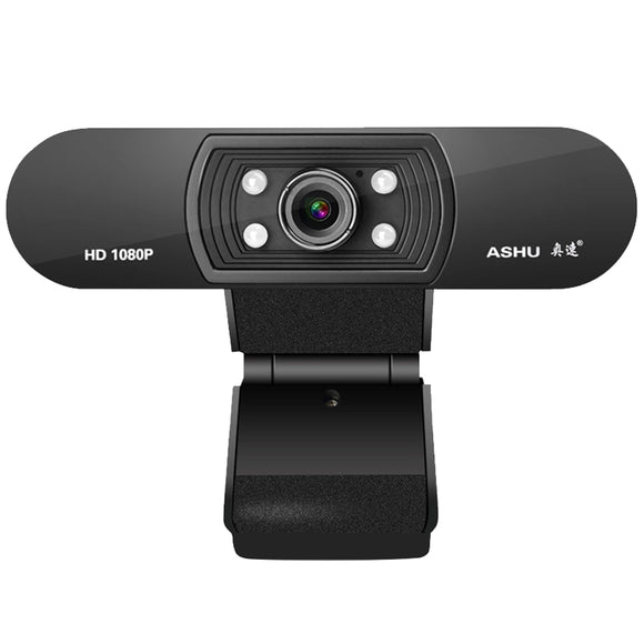 Ashu H800 Full HD Video Webcam 1080P HD Camera USB Webcam Focus Night Vision Computer Web Camera with Built-in Microphone