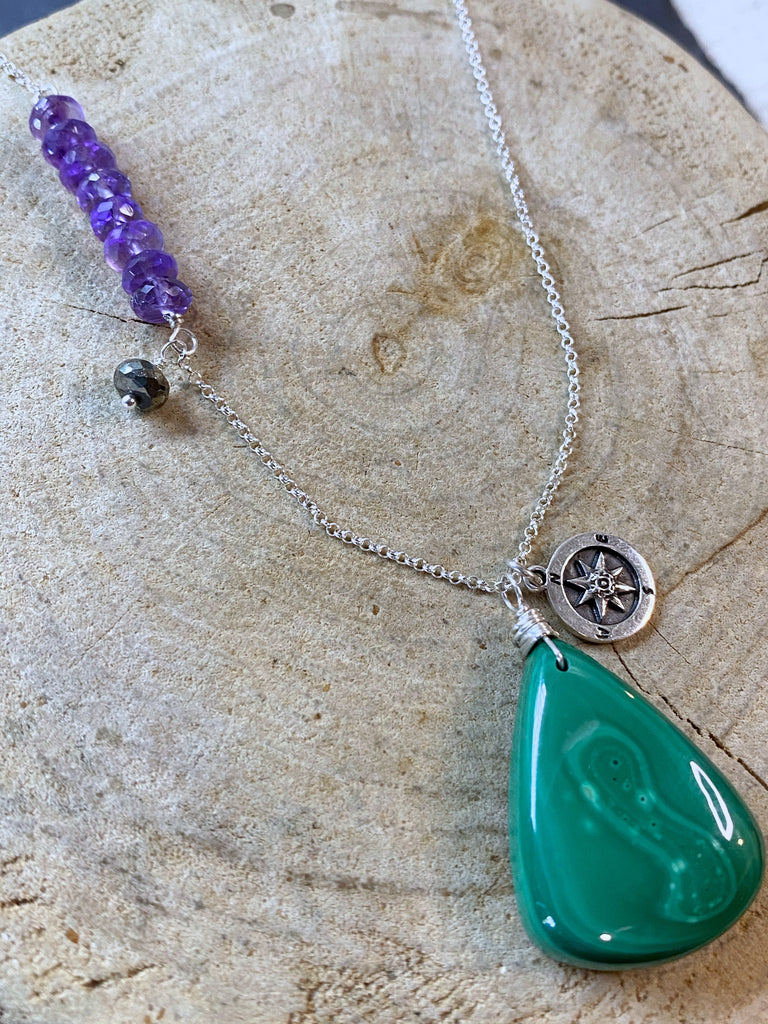 Malachite heart opener necklace