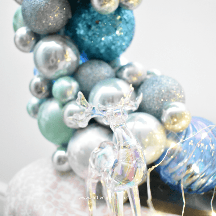 """The Frozen"" A stunning blue and silver Bauble Hoop with beautiful LED lights - a fabulous addition to any Christmas theme"