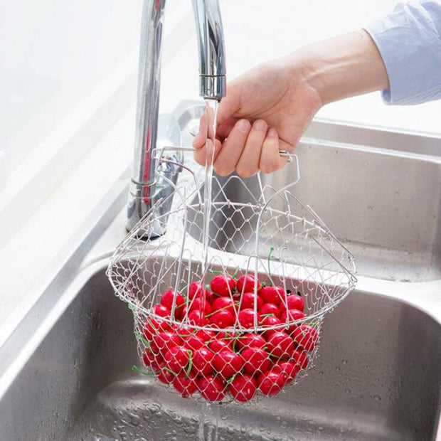 Foldable Stainless Steel Basket - Gadgetir