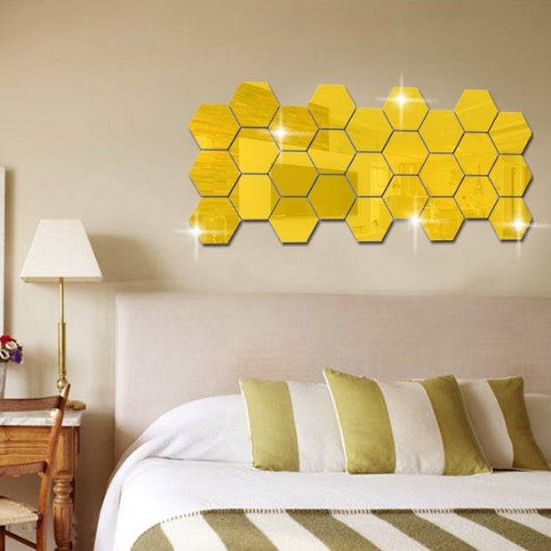 3D Hexagon Acrylic Mirror Wall Stickers - Gadgetir