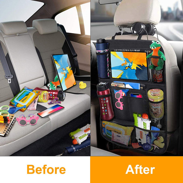 Car Backseat Organizer with Touch Screen Tablet Holder - Gadgetir