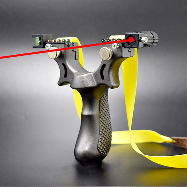 Laser Aiming Slingshot with Flat Rubber Band - Gadgetir