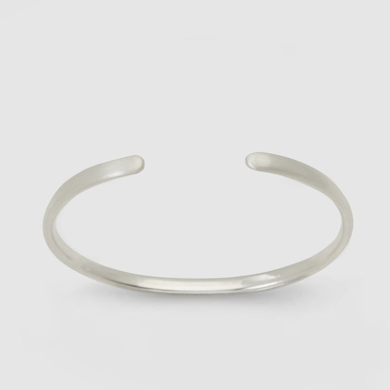Brushed Silver Oval Bracelet