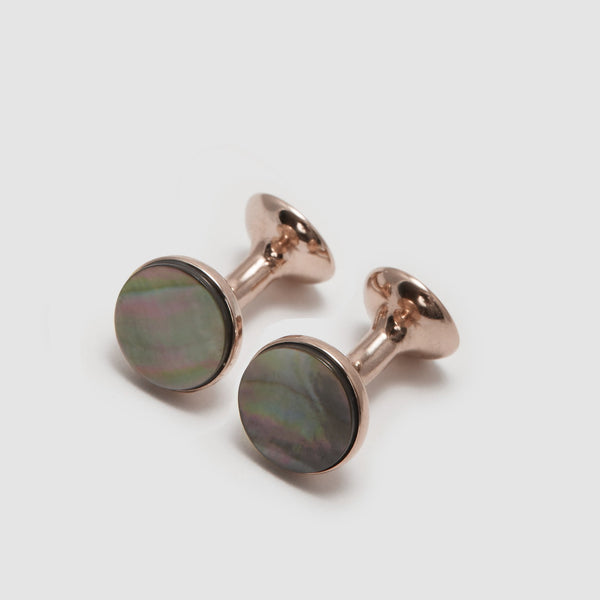 Smokey Mother of Pearl Bow Cufflinks