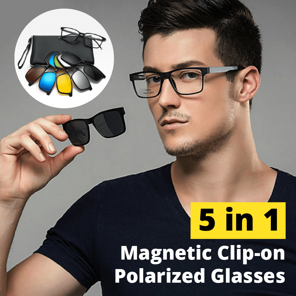 5 in 1 Magnetic Clip-on Polarized Glasses