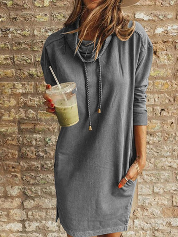 Women's Solid Color Sweatshirt Collar Long-sleeved Dress