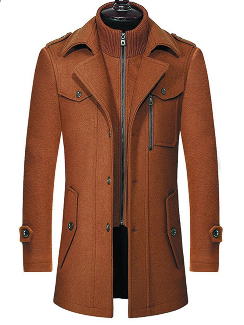 Men's Double Collar Mid-length Woolen Trench Coat
