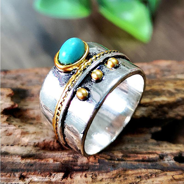 Vintage Two-tone Turquoise Ring