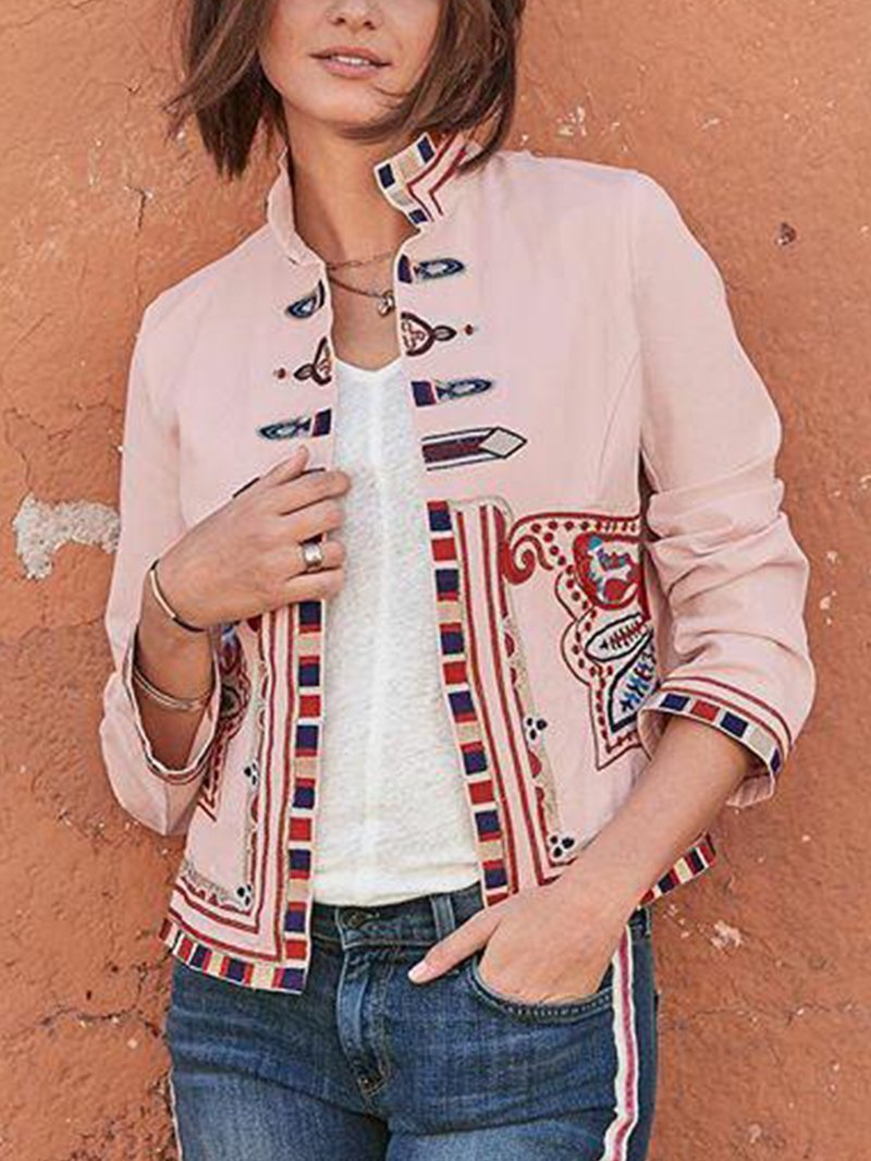 Fashion Retro Print Stand Collar Long Sleeve Jacket