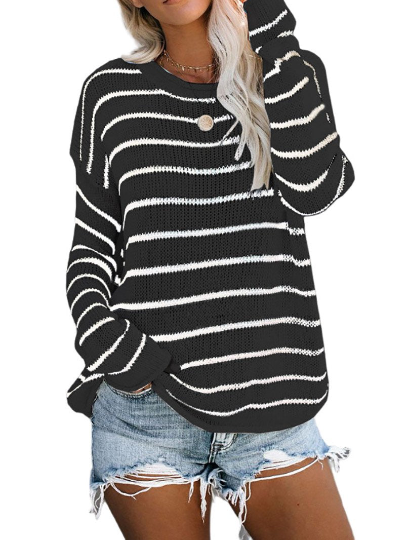 Stripes Print Patchwork knitting Sweater