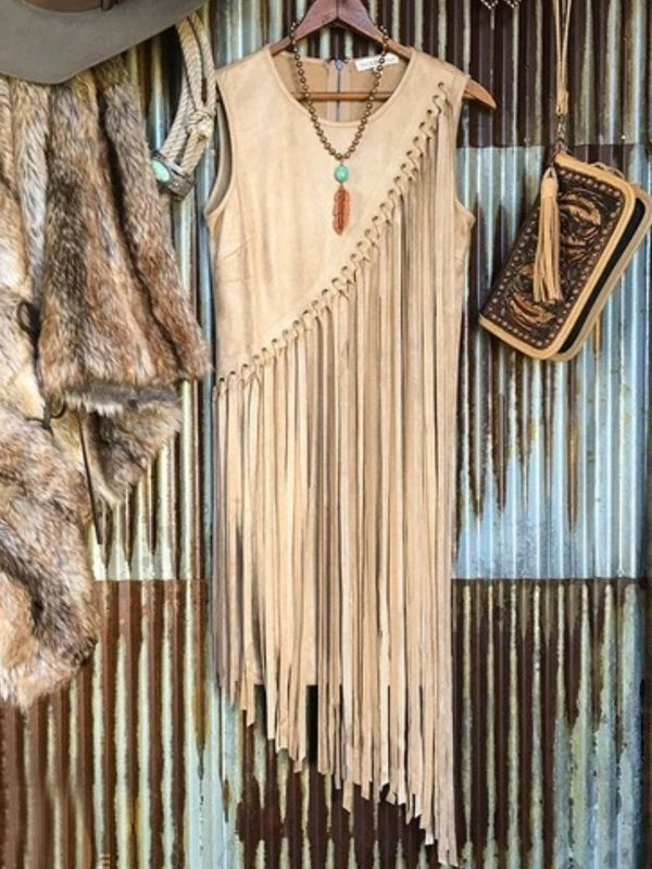 Vintage Solid Fringed Dresses