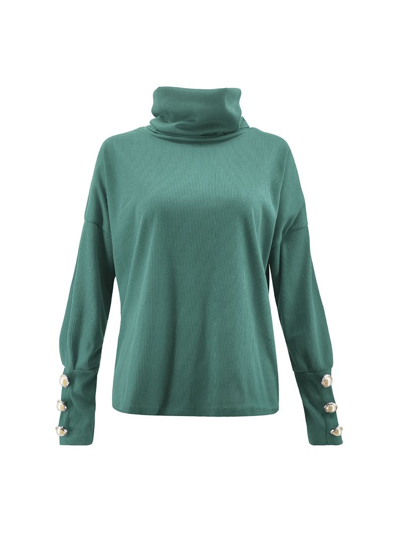 Women's High Neck Button Knit Puddle Tops