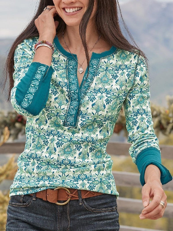 Casual Printed Round Neck Long Sleeve Top