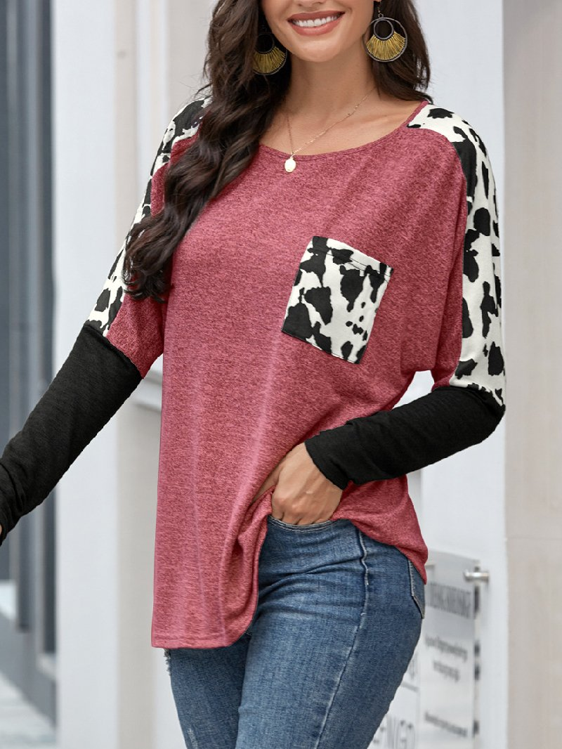 Women's Long-sleeved Leopard Print Stitching Pocket T-shirt