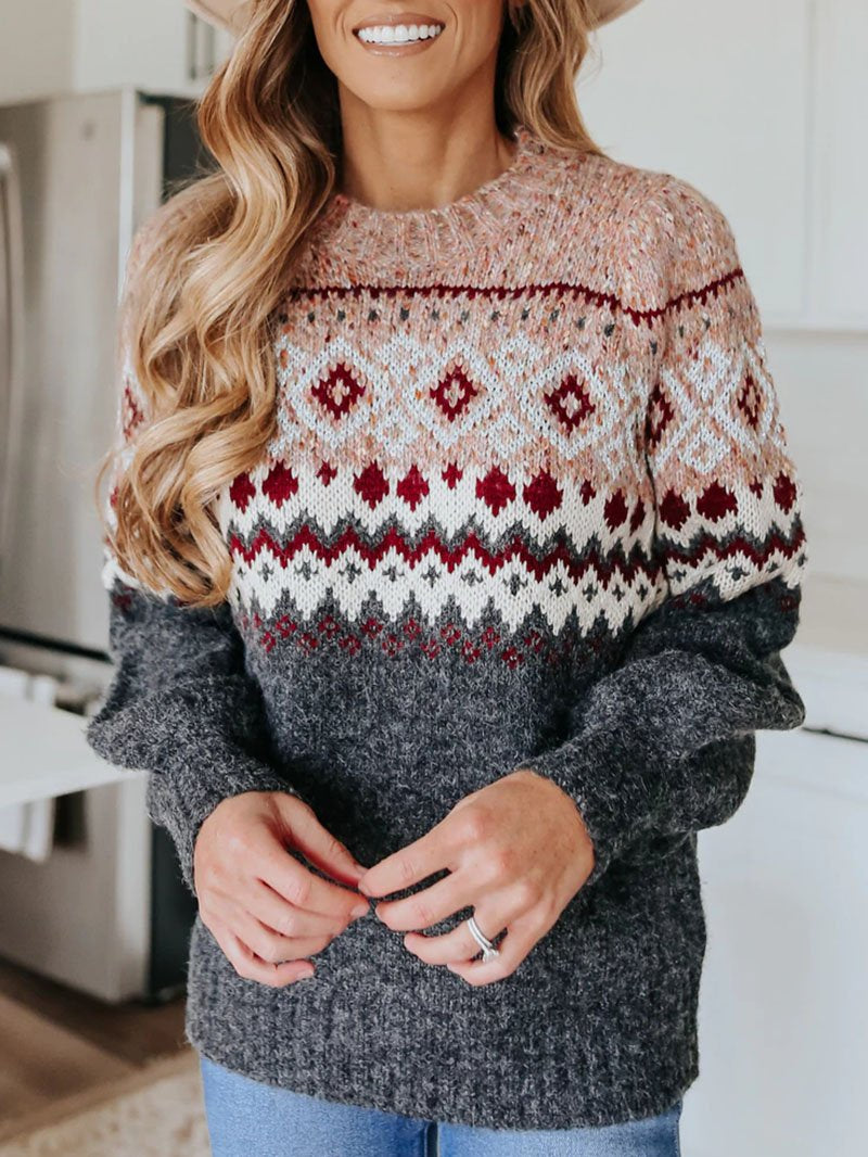 Warm geometric knit sweater top with round neck