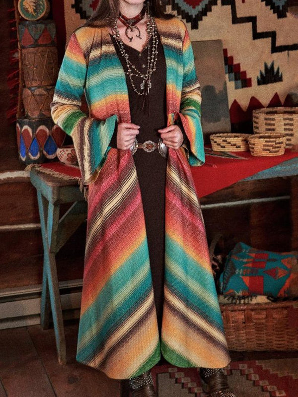 Vintage Rainbow Striped Bell Sleeves Long Jacket