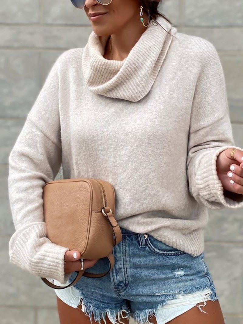 Casual Solid High Neck Long Sleeve Knitted Sweater