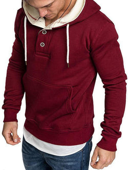 Long Sleeve Solid Color Hooded Fleece Casual Men's Sweatshirt