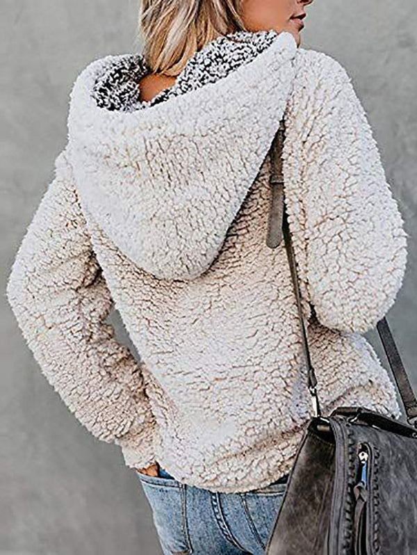 Plush hooded pullover sweater