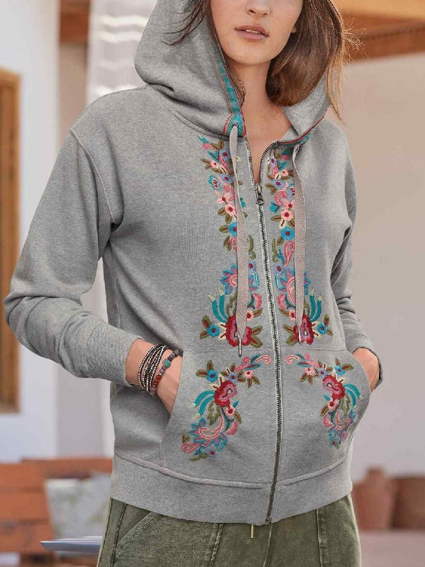 Casual Hooded Long Sleeve Printed Zip Sweatshirt